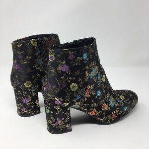Diba Women's Floral Block Fabric Heeled Booties